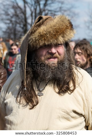 KRAKOW, POLAND - APR 7, 2015: Unidentified participants of Rekawka - Polish tradition, celebrated in Krakow on Tuesday after Easter. Currently has the character of festival historical reconstruction