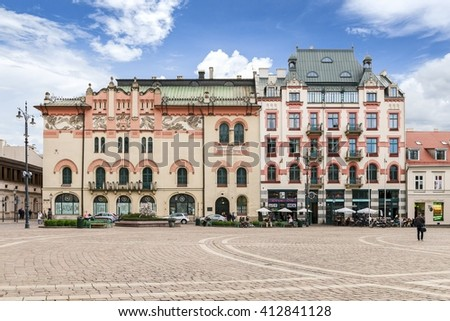 KRAKOW, POLAND - APRIL 17, 2016: Plac Szczepanski and The Old Theater in Krakow, Poland.