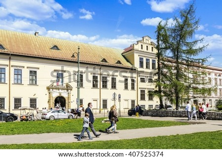 KRAKOW, POLAND - APRIL 17, 2016: The Bishop's Palace in Krakow is the seat of Krakow metropolitan Curia in Krakow, Poland.