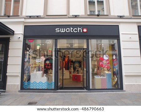 KRAKOW, POLAND - AUGUST 17, 2016. Swatch store in the old city center of Krakow. Swatch is a Swiss watchmaker founded in 1983 by Nicolas Hayek, and is subsidiary of The Swatch Group.