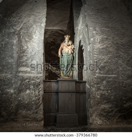 KRAKOW, POLAND - 13 DECEMBER 2015 :Our Lady Victorious in The Holy Cross Chapel in  Wieliczka Salt Mine on 13 DECEMBER 2015  - stock photo