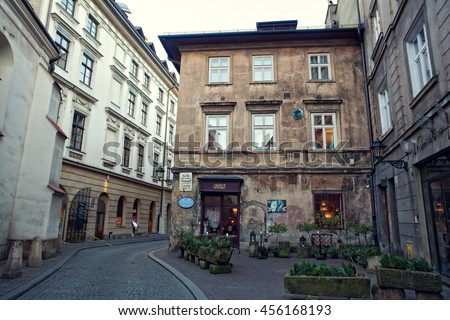 Krakow, Poland - December 13, 2014: Street St. Thomas