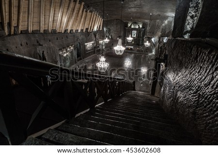 KRAKOW, POLAND -  13 DECEMBER 2015 : The Chapel of St. Kinga is located 101 meters underground and its floor area is of 465 m2 on 13 DECEMBER 2015 - stock photo