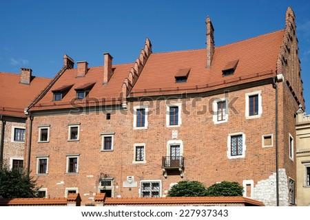 KRAKOW, POLAND/EUROPE - SEPTEMBER 19 : Wawel Castle building in Krakow Poland on September 19, 2014