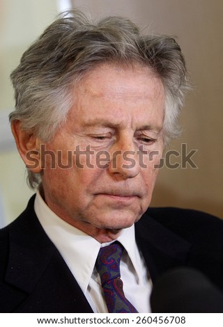 KRAKOW, POLAND - FEB 25, 2015: Roman Polanski in court in Cracow.The court is to decide whether to extradite Polanski to the USA for sentencing on charges  that the raped a 13-year old girl in 1977. - stock photo