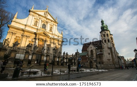 KRAKOW, POLAND - FEB 5, 2014: View of the Church of Saints Peter and Paul in Old Town district. It is biggest of historic Churches of Krakow in terms of seating capacity, was built between 1597����1619.