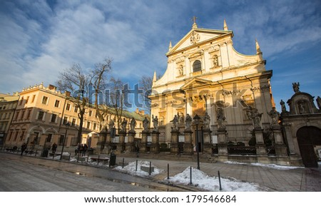 KRAKOW, POLAND - FEB 5, 2014: View of the Church of Saints Peter and Paul in Old Town district. It is biggest of historic Churches of Krakow in terms of seating capacity, was built between 1597-1619.