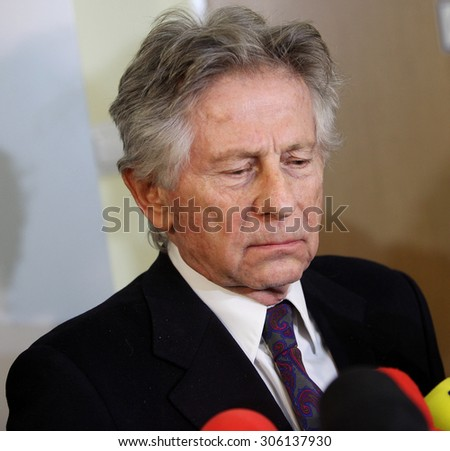 KRAKOW, POLAND - FEBRUARY 25, 2015 : Polish film director Roman Polanski in court in Cracow after hearing on a request for his extradition to the USA. Cracow, Poland