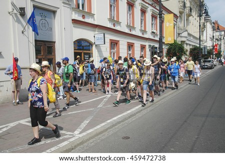KRAKOW, POLAND - JULY 26, 2016: participants of the opening ceremony of World Youth Day 2016 in Krakow, Poland