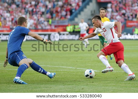 KRAKOW, POLAND - June 06, 2016: Inernational Friendly football game Poland - Lithuania o/p  Slawomir Peszko