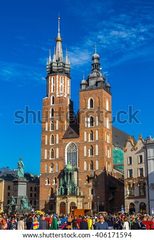 KRAKOW, POLAND - JUNE 16: St. Mary's Church in Krakow in a summer day, Poland on June 16, 2014