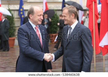KRAKOW, POLAND - JUNE 04, 2009: 20th Anniversary of the collapse of Communism in Central Europe o/p Polish Prime Minister Donald Tusk Lithuanian Prime Minister Andrius Kubilius