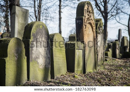 KRAKOW, POLAND - March 20, 2014: New Jewish Cemetery in the historic Jewish neighborhood of Kazimierz, covers an area of about 4.5 hectares (11 acres), is a registered heritage monument.