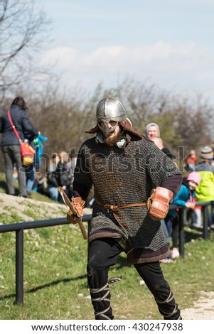 KRAKOW, POLAND - MARCH 29, 2016: Unidentified participants of Rekawka - Polish tradition celebrated in Krakow on Tuesday after Easter. Currently has the character of festival historical reconstruction - stock photo