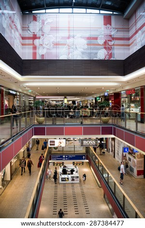 KRAKOW, POLAND - MAY 30, 2015: Interior of the Galeria Krakowska city mall Krakow, Poland. Galeria Krakowska has 270 specialty shops, cafes, and restaurants
