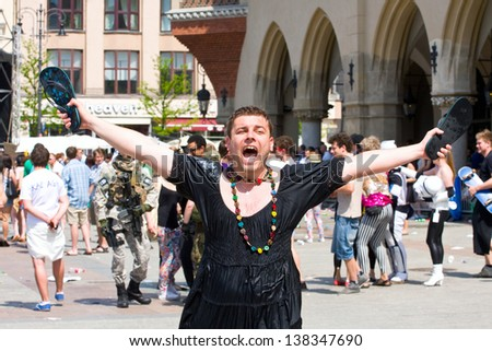 KRAKOW, POLAND - MAY 10, 2013: Juwenalia, is an annual students' holiday in Poland, usually celebrated for three days in late May. May 10, 2013 in Krakow, Poland