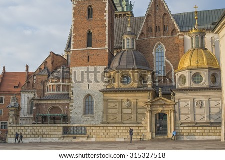 KRAKOW, POLAND - NOV 04, 2014: Courtyard of the Wawel Castle. Wawel - the symbol of Poland. Castle where lived the Polish kings. Picture taken in the evening during a trip to Krakow.