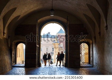 KRAKOW, POLAND - November 02: People visit Royal Wawel Castle in Krakow on november 02, 2014. Krakow is most famous city to visit in Poland