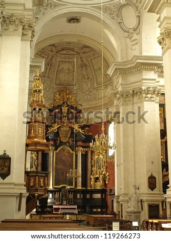KRAKOW, POLAND - NOVEMBER 20: The interior of the Church of Peter and Paul in Krakow on November 20, 2008 in Krakow, Poland. It is the first building of Baroque architecture in Krakow.