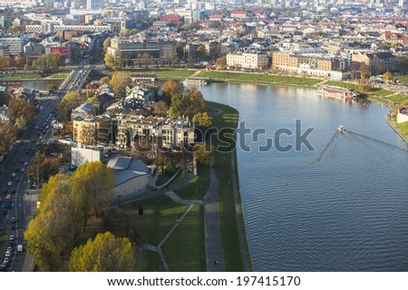 KRAKOW, POLAND - OCT 20, 2013:  Aerial view of one of the districts in historical center of Krakow. This year the city was visited by 8.1 million tourists, which is the highest level.