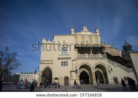 KRAKOW, POLAND - OCT 29: The market and city hall in historical center of Krakow, Poland on October 29 2014. It was one of the most historic cities in Poland.