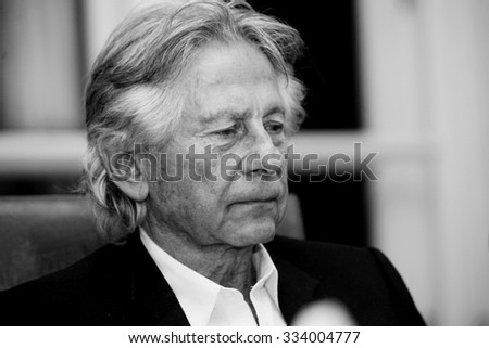 KRAKOW, POLAND - OCTOBER 30, 2015 : Polish film director Roman Polanski in court in Cracow after hearing on a request for his extradition to the USA. Cracow, Poland