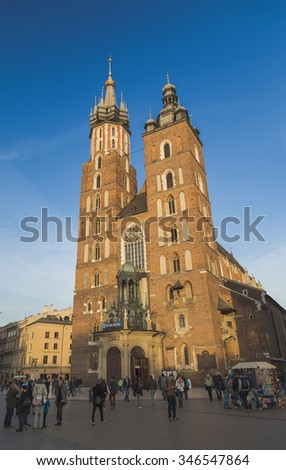 KRAKOW, POLAND - 26 OCTOBER 2015: St. Mary's Church or Church of Our Lady Assumed into Heaven. Krakow. Poland