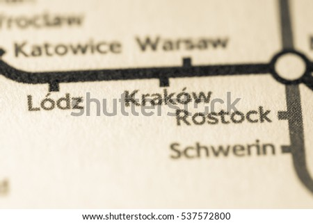 Krakow, Poland on a geographical map.