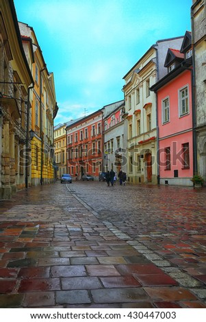 Krakow - Poland's historic center, a city with ancient architecture. Wet bricks