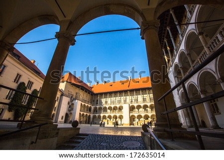 KRAKOW, POLAND - SEP 22: Inner yard of royal palace in Wawel, Sep 22, 2013 in Krakow, Poland. The monument to the history of the Decree of the President Lech Walesa on September 8, 1994.