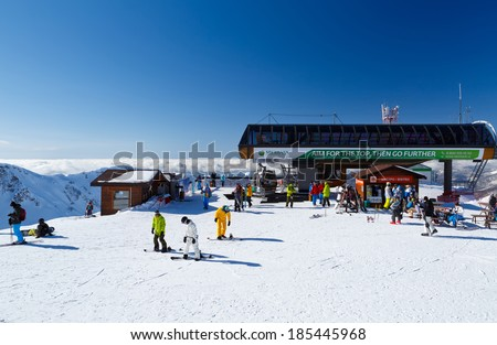 "Krasnaya Polyana. Russia - 04 February 2014. Mark 2200 meters above sea level, the upper station of the ropeway ski resort ""mountain carousel"". - stock photo"