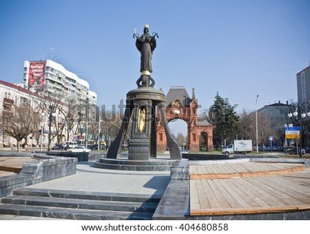 KRASNODAR, RUSSIA-MARCH 25, 2010: Monument of holy GreatMartyress Catherine.  Holy GreatMartyress Catherine is patron of the Krasnodar city.