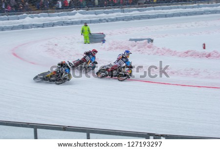 KRASNOGORSK, RUSSIA - CIRCA FEB 2013: FIM Ice Speedway Gladiators World Championship 2013, Circa Feb 2013 in Krasnogorsk, Russia.