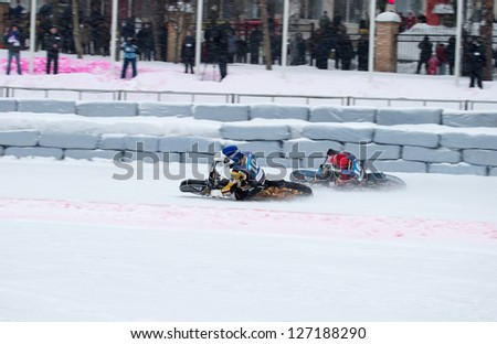 KRASNOGORSK, RUSSIA - CIRCA FEB 2013: FIM Ice Speedway Gladiators World Championship 2013, on Circa Feb 2013 in the Krasnogorsk, Russia.