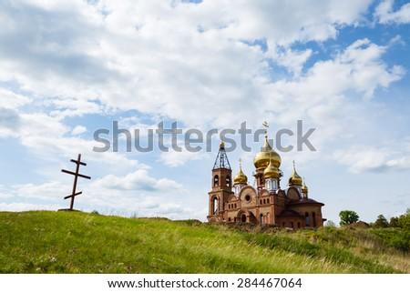 Krasnoyarsk, Russia - May 29, 2015: Construction of church - stock photo