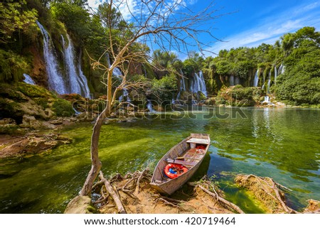 Kravice waterfall in Bosnia and Herzegovina - nature travel background - stock photo