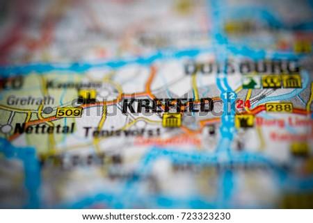 Krefeld On Map Stock Photo 723323230 Shutterstock