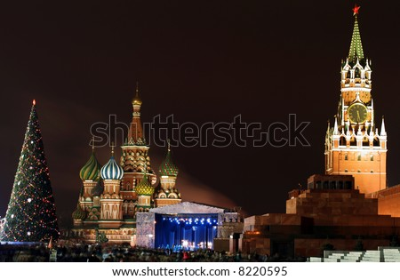 Christmas tree and stage for music show red square moscow russia
