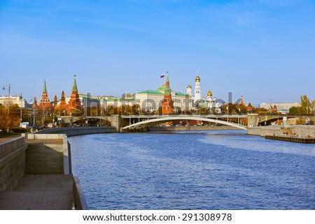 Kremlin on sunset - autumn in Moscow Russia - stock photo