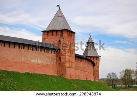 Kremlin tower, Veikiy Novgorod, Russia - stock photo