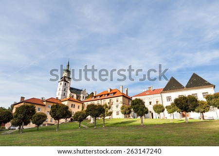 KREMNICA,SLOVAKIA, SEPTEMBER 27: Main square of the village Kremnica, Slovakia on September 27, 2009. It is a small town in central Slovakia and has some 5,700 inhabitants. - stock photo