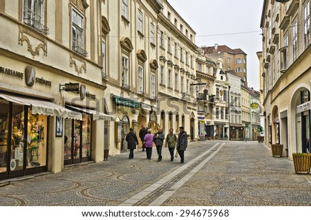 KREMS, AUSTRIA - MARCH 21: street scene on March 21, 2015 in Krems, Austria. Krems an der Donau is a town of 24,110 inhabitants in Austria, in the federal state of Lower Austria.  - stock photo