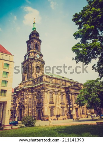 Kreuzkirche meaning Church of the Holy Cross in Dresden Germany is the largest church in Saxony