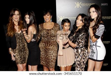Kris Jenner, Kendall Jenner, Kylie Jenner, Khloe Kardashian, Kim Kardashian and Kourtney Kardashian at the Kardashian Kollection Launch Party held at the Colony in Hollywood, USA on August 17, 2011. - stock photo