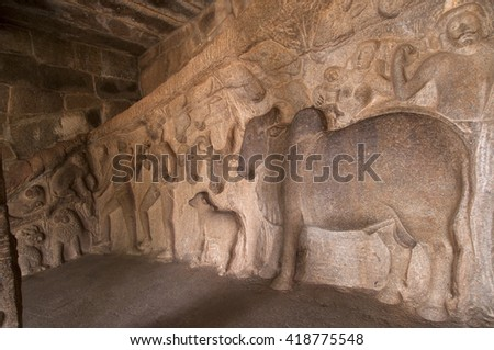 Krishna Mandapum, rock carving in Mammallapuram, India ,UNESCO Heritage site