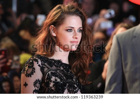 "Kristen Stewart arriving for the ""The Twilight Saga: Breaking Dawn Part 2"" premiere at the Odeon Leicester Square, London. 14/11/2012 Picture by: Henry Harris"