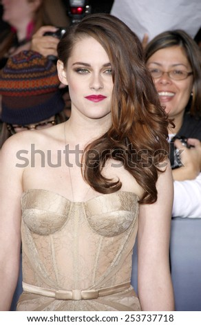 "Kristen Stewart at the Los Angeles Premiere of ""The Twilight Saga: Breaking Dawn - Part 2"" held at the Nokia L.A. Live Theatre in Los Angeles, California, United States on November 12, 2012. - stock photo"