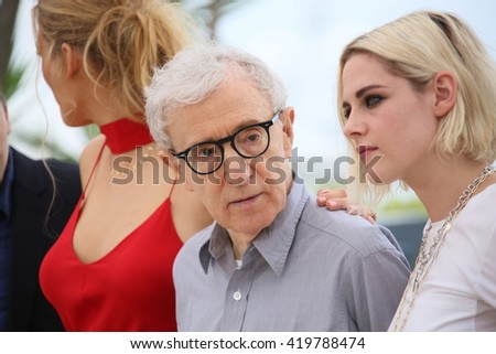 Kristen Stewart, Woody Allen attends the 'Cafe Society' Photocall during The 69th Annual Cannes Film Festival on May 11, 2016 in Cannes, France. - stock photo