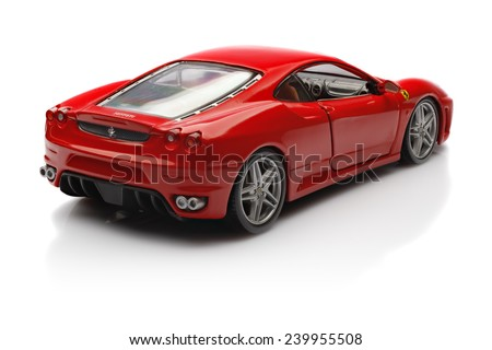 KRIVOY ROG, UKRAINE - DEC 25- Toy ferrari F430 on white background, Thursday 25 December 2014  - stock photo