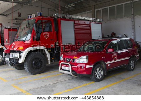Krk, CROATIA - June 5: Fire Truck in Krk on June 05, 2016. Firefighters Engine Parked at Fire Station in Krk, Croatia